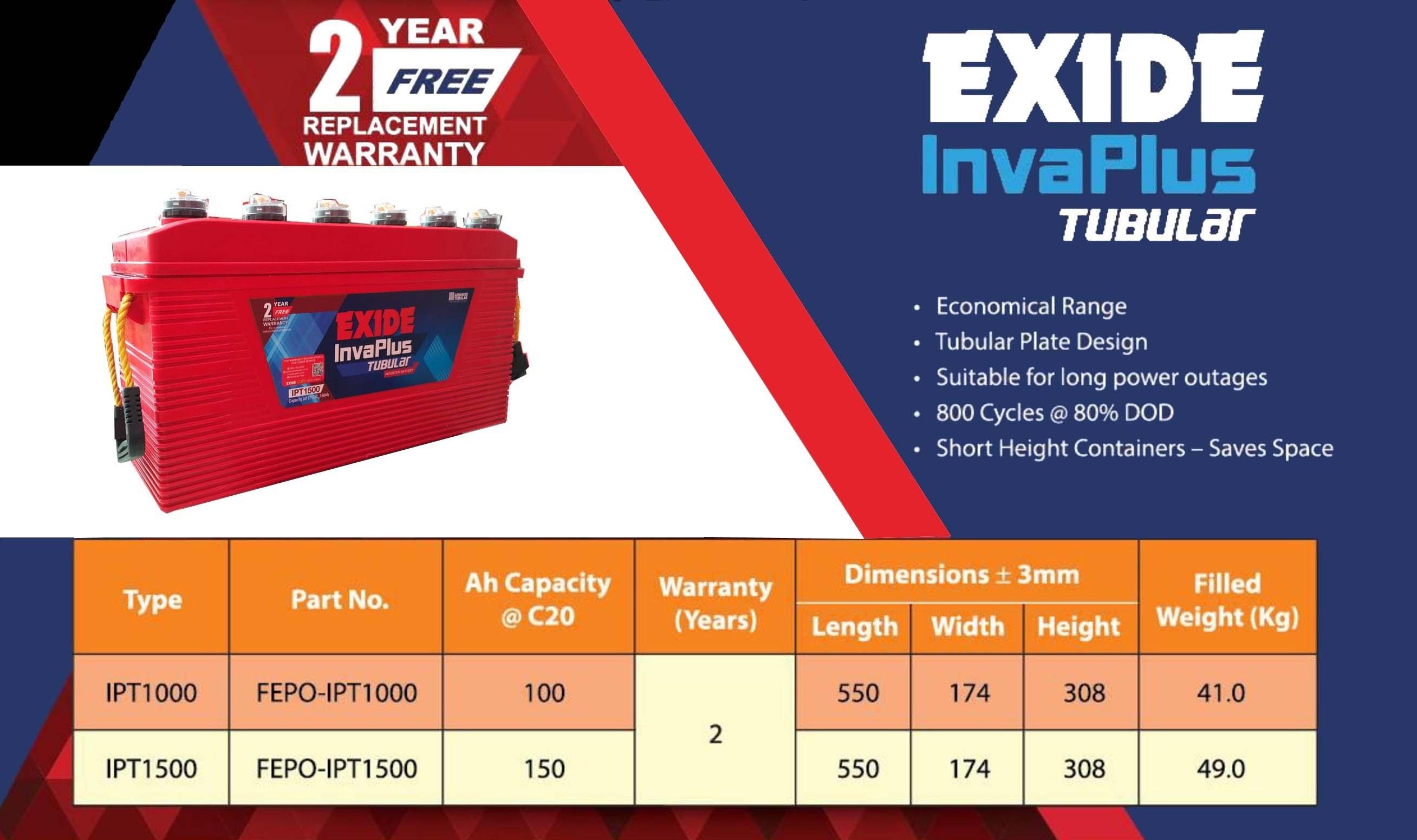 Exide InvaPlus Tubular inverter Battery