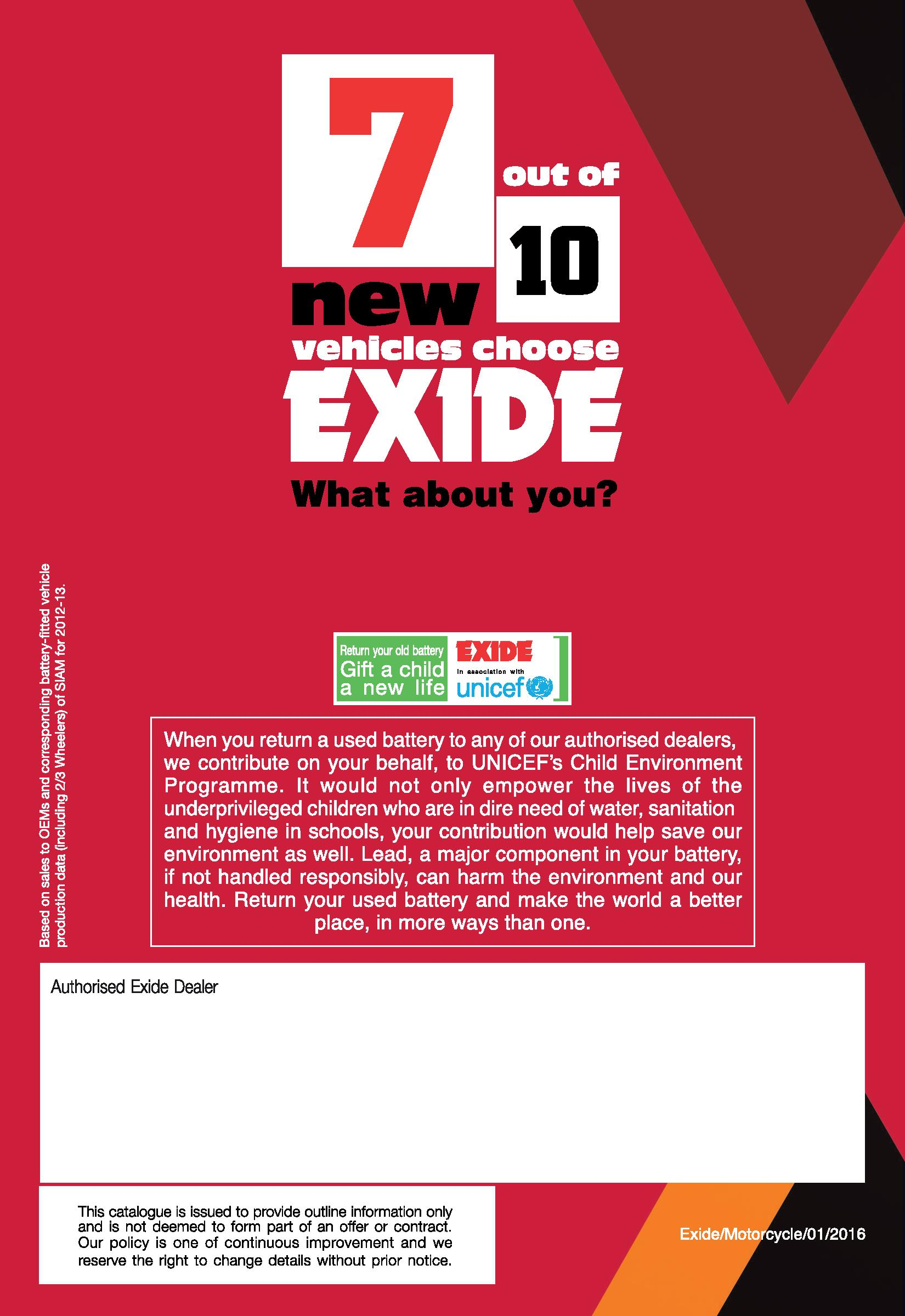 Exide Explore Motorcycle Battery Specification