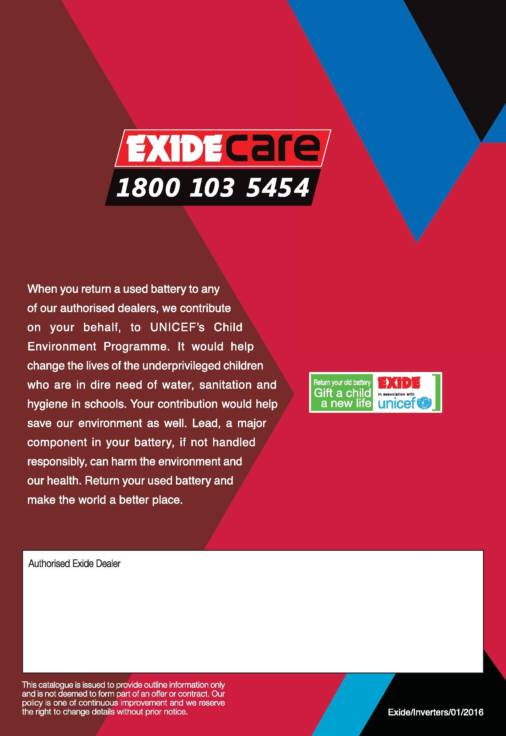 Buy Exide Invasmart 3 year  warranty Inverter Battery