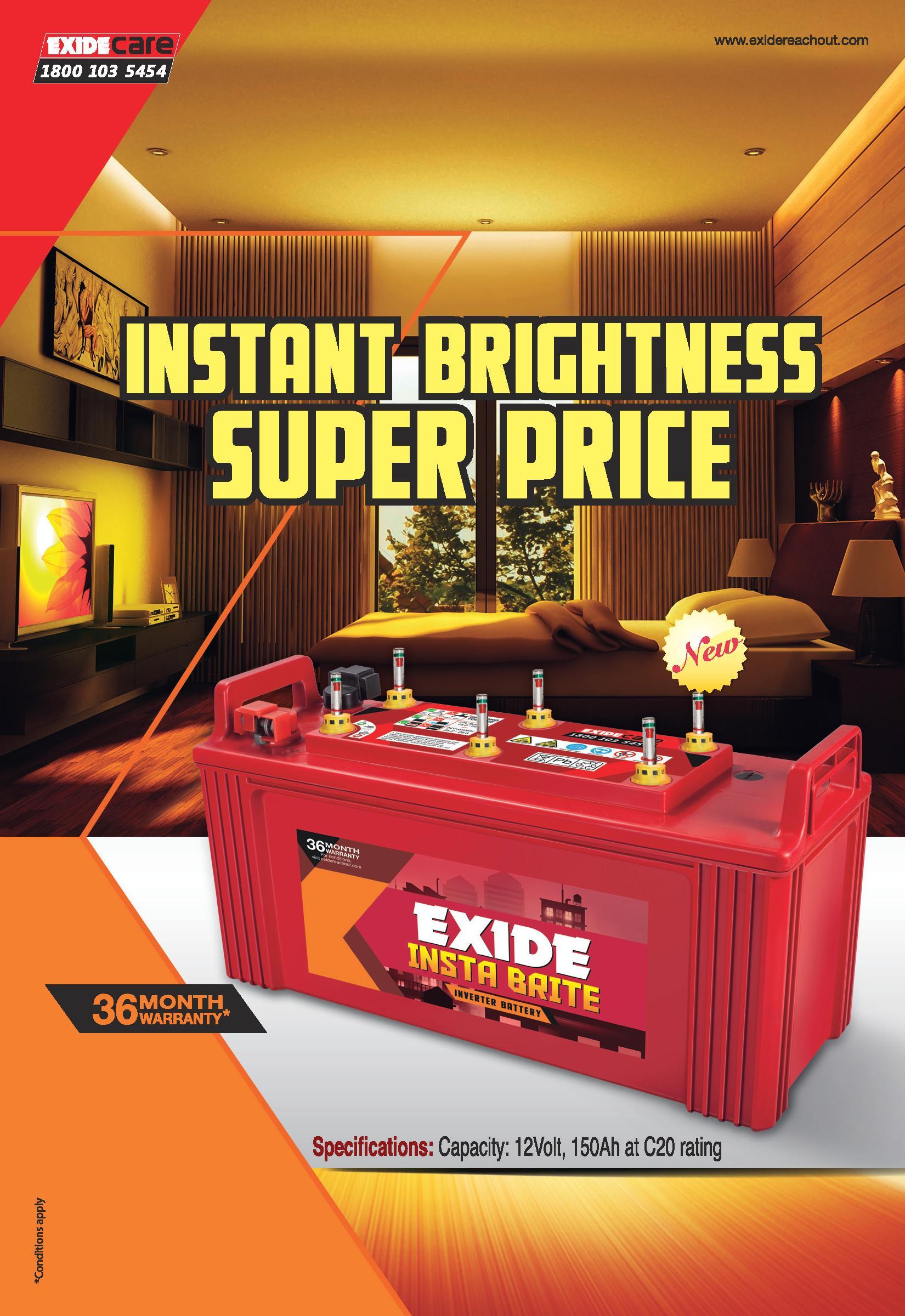 Exide InstaBrite inverter Battery