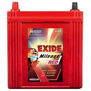 Exide mileag red car battery for wagonr 35 AH mi35r