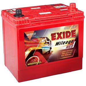 Exide mileage red toyota ETIOS LIVA MRED55D23L
