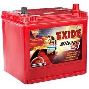 Exide automotive mileage Battery mred75d23lbh mi75d23lbh verna hyundai battery verna fludic