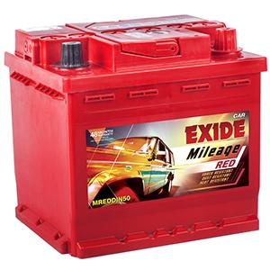 Exide mileage red din 50 exide battery for chervolet beat diesel MREDDIN50