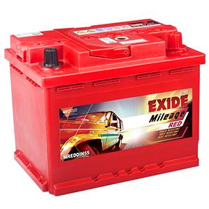 Exide mileage red din55 car battery for indica vista indigoecs MREDDIN55