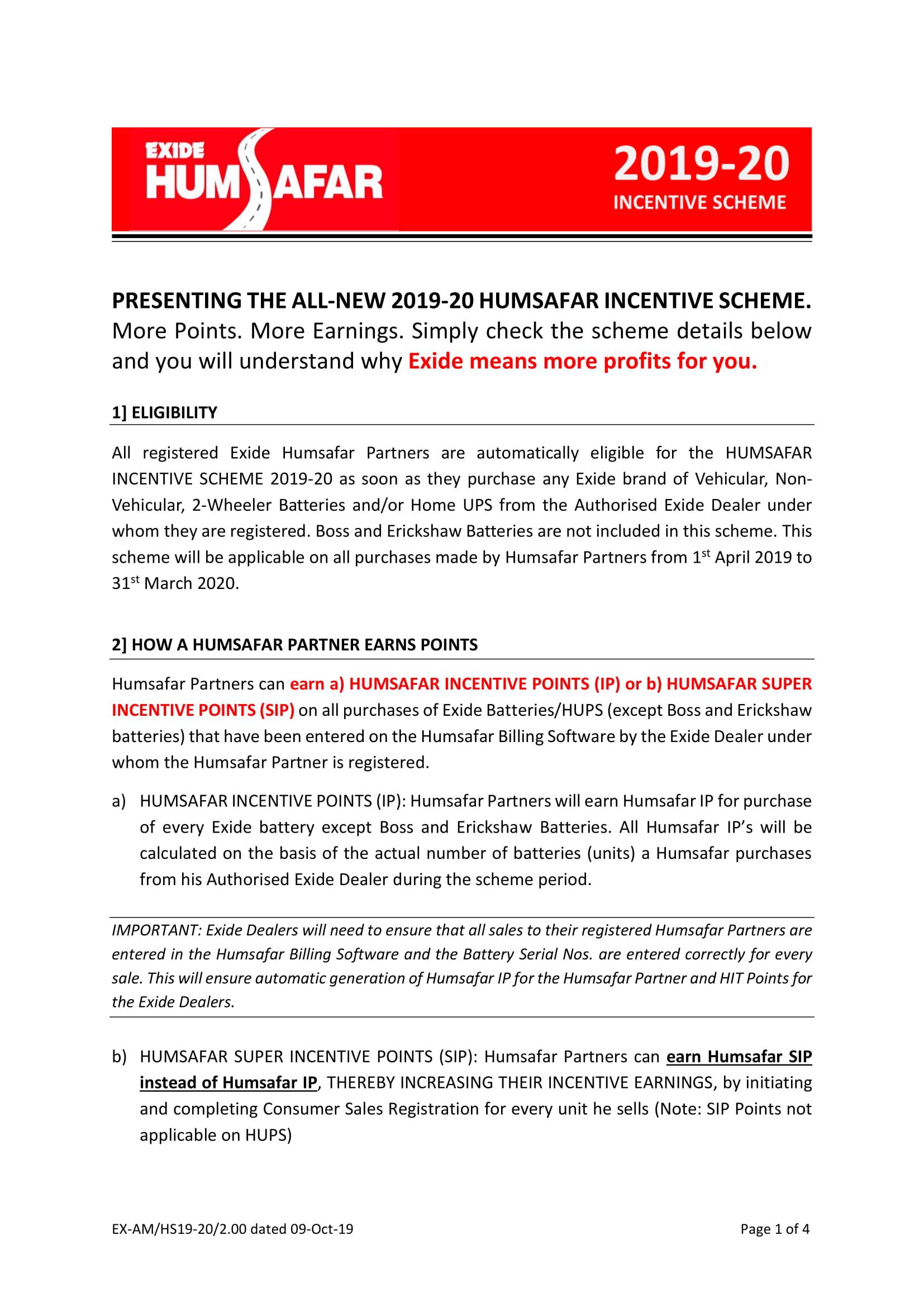 Exide Humsafar Dealer Scheme 19-20
